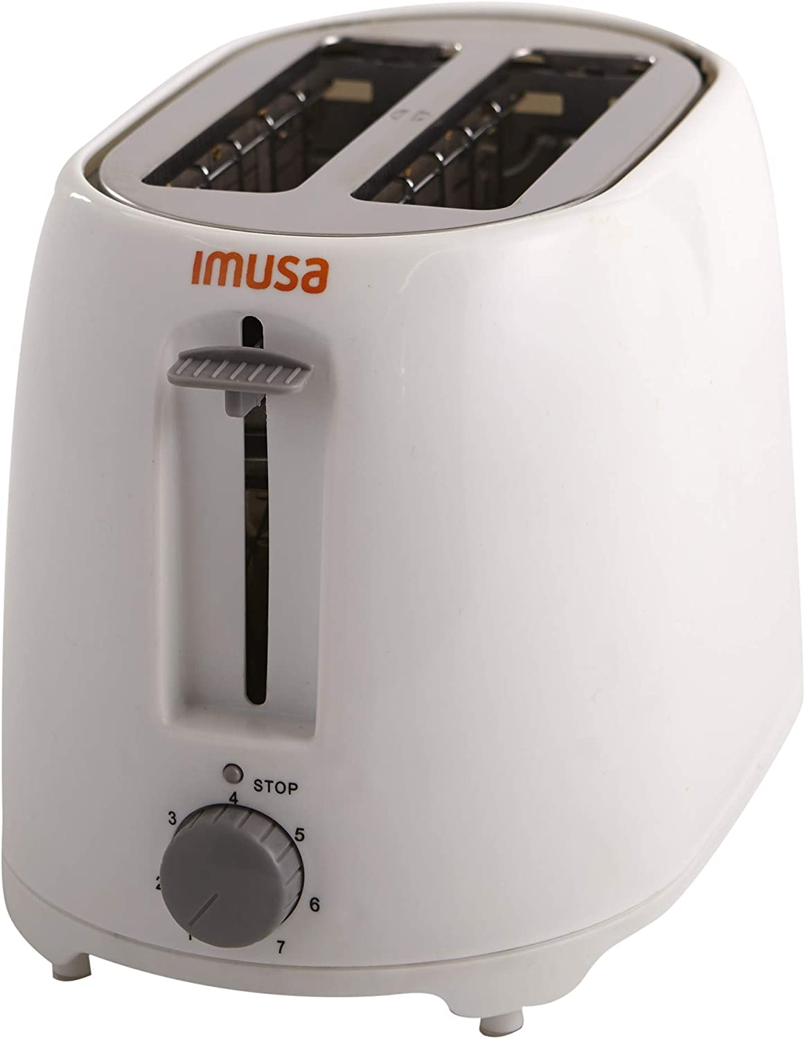 IMUSA USA GAU-80321W White 2-Slice Basic Cool Touch Toaster with Extra-Wide Slot for Bagels and Removable Crumb Tray