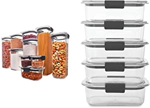 Rubbermaid Brilliance Pantry Organization & Food Storage Containers, Set of 10 (20 Pieces Total) & Brilliance Food Storage Container, BPA free Plastic, Medium, 3.2 Cup, 5 Pack, Clear