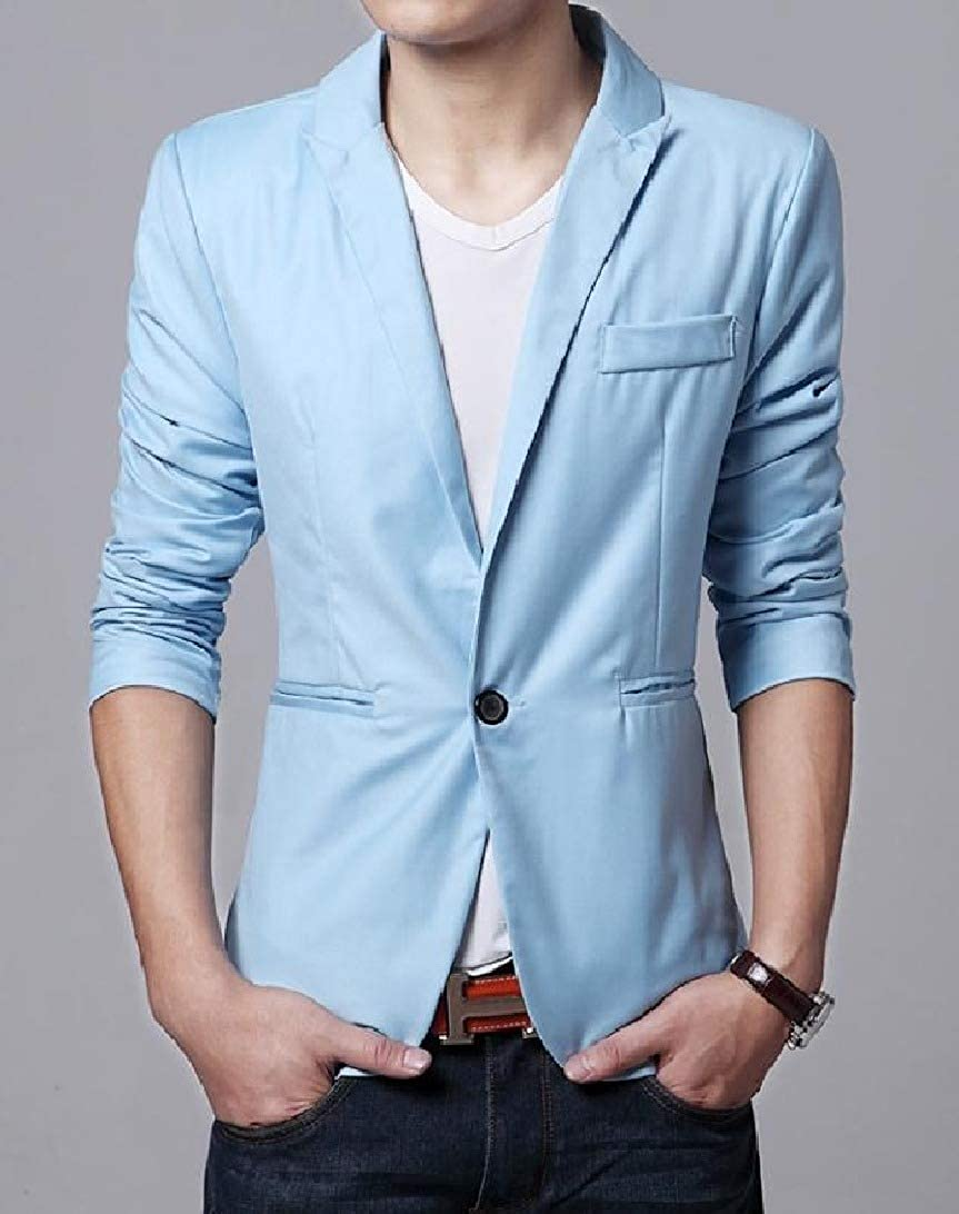 VITryst-Men Casual Pure Color Silm Fit Wedding 1-Button Blazer Coats