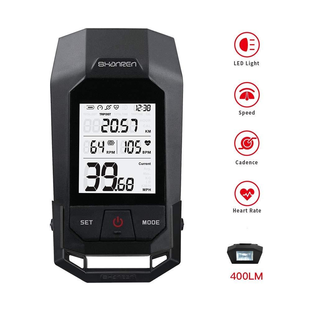 SHANREN Wireless Bike Odometer – Unique Bicycle Speedometer with LCD Backlight Calorie Counter Bike Cadence – Integrated 400LM German Bike Light Standard Headlight -Raptor II DE