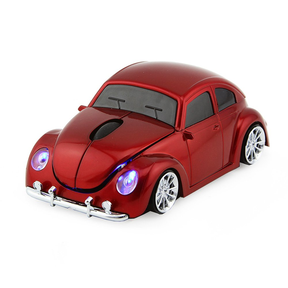 Usbkingdom 2.4GHz Wireless Mouse Cool 3D Sport Car Shape Ergonomic Optical Cordless Mice with USB Receiver for PC Laptop Computer Notebook 1600DPI Red