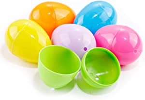 """WELLIFE 216 PCS Plastic Easter Eggs, 6 Assorted Colors Game Eggs 2.4"""", Bright Empty Easter Theme Party Favor for Filling Specific Treats and Easter Eggs Hunt"""