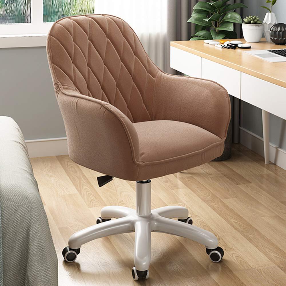 LIYANJJ sammet accent fritidsstol, vadderad skrivbordsstol mitt på baksidan 360° svängbar höjd justerbar rulluppgift stol modern stoppad toalettstol med hjul i arbetsrum sovrum #2