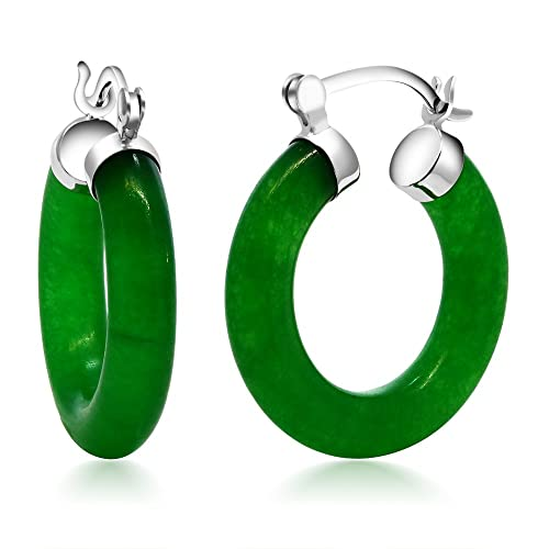 Gem Stone King Vibrant Green 925 Sterling Silver Solid Jade Hoop Earrings 0.5 Inch