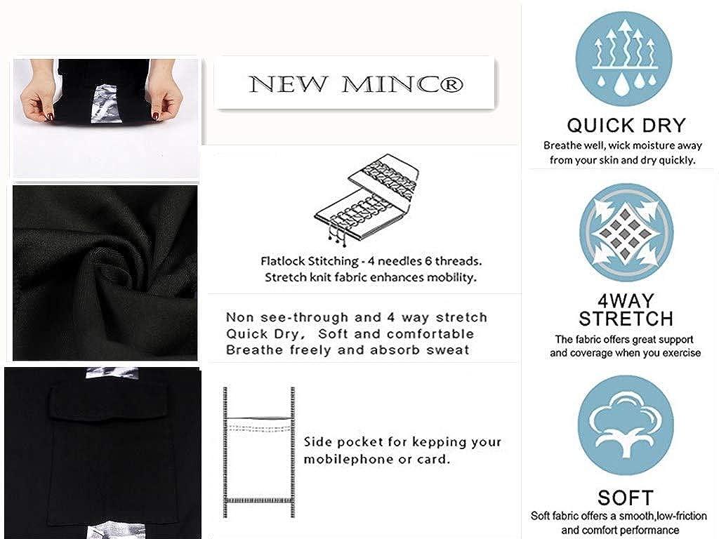 New Minc Women Black-Printed Yoga Pants High-Waist Tummy-Control Tights with Pockets