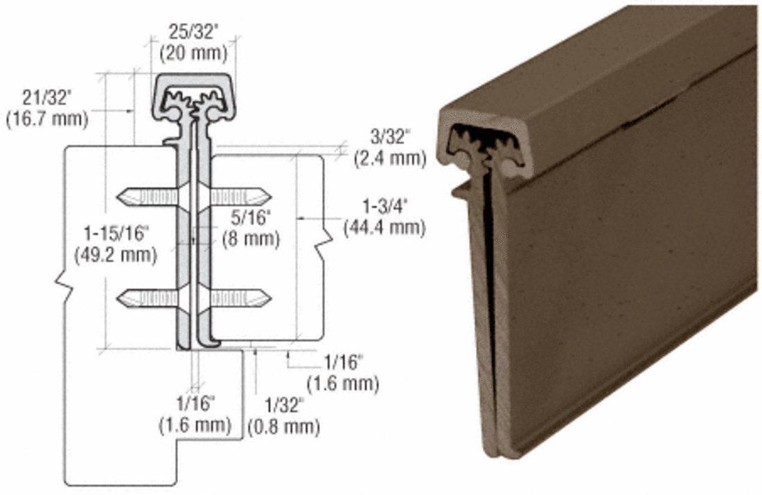CRL Bronze Duranodic Finish Roton Concealed Leaf Heavy-Duty 83'' Hinge With Lip 1-3/4 Inch Entry Door