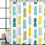 Blue and Yellow Shower Curtain Bathroom Shower Curtain Blue Yellow Pineapple Shower Curtains Fabric Shower Room Curtain Durable Waterproof Home Bath Curtain Sets with 12 Hooks