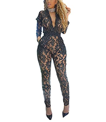 4b4cfd292df Vamvie Women's Sexy Mesh See Through V Neck Sequin Long Sleeve Jumpsuit  Bodycon Romper With Pocket