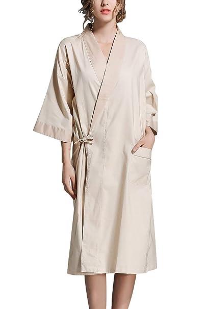 Unisex para Mujer para Mujer Bata Kimono Cama Calentar Clásico Salir Algodón Noche Calentar Bata De