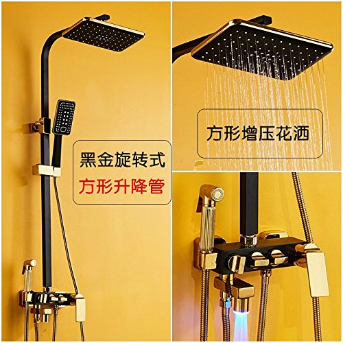 F) Black gold) (Circular) NewBorn Faucet Kitchen Or Bathroom Sink Mixer Tap In Japan The Black-Brass Shower Set Square Water Tap Shower Booster Shower Wall Platinum Arc