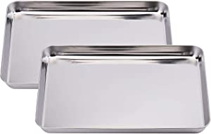 Suwimut Set of 2 Baking Sheet, Stainless Steel Cookie Pans Baking Tray, Non Toxic and Healthy, Mirror Finish and Rust Free, Easy Clean and Dishwasher Safe