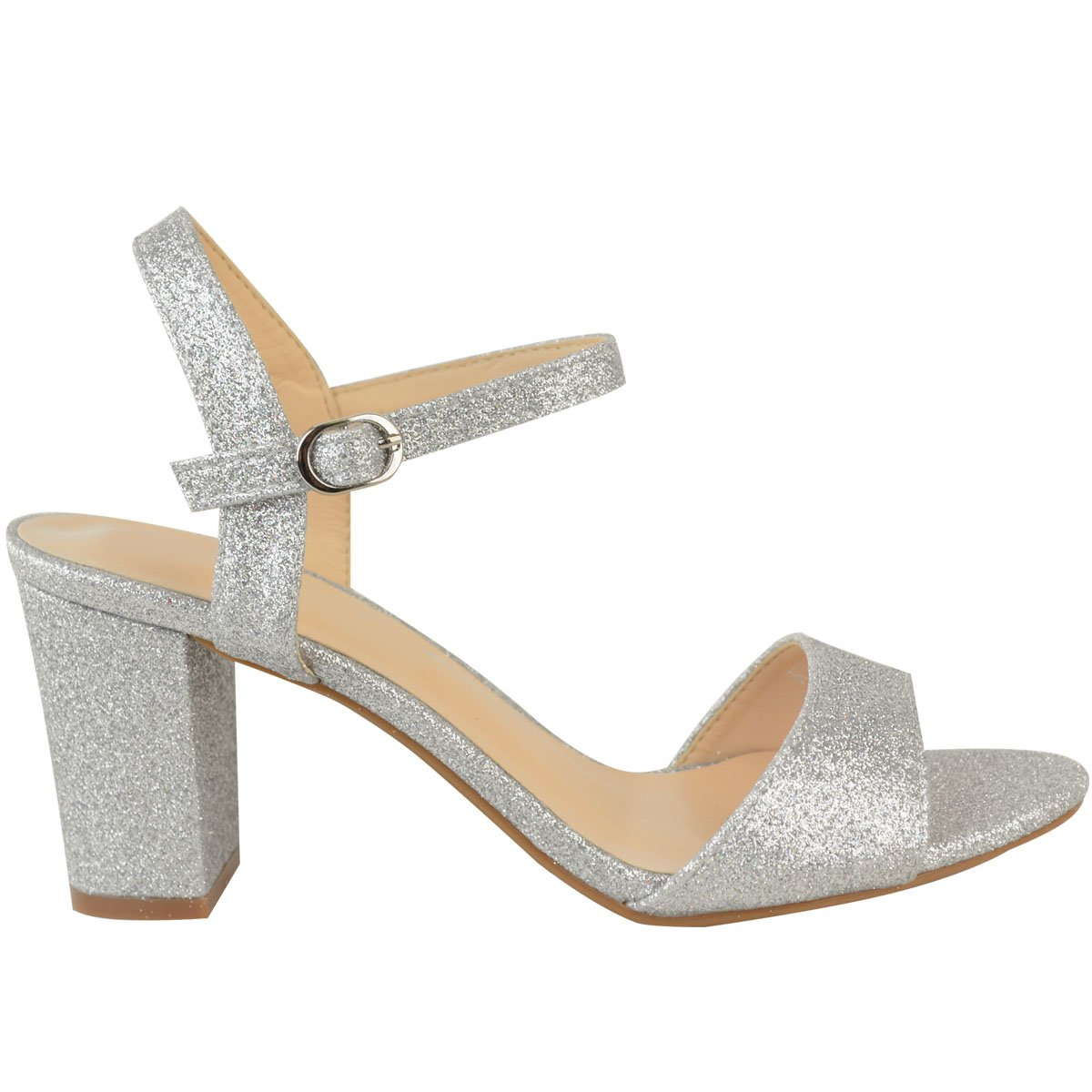 d45db07137f3 Fashion Thirsty Heelberry® Ladies Womens Low Block Heel Party Bridal Glitter  Sandals Wedding Prom Shoes Sz  Amazon.co.uk  Shoes   Bags