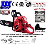 NEW 2016 62CC PETROL CHAINSAW 16 BAR 2 CHAINS WALBRO CARB NGK PLUG SCABBARD CARRY CASE TOOL KIT by xxx powertools