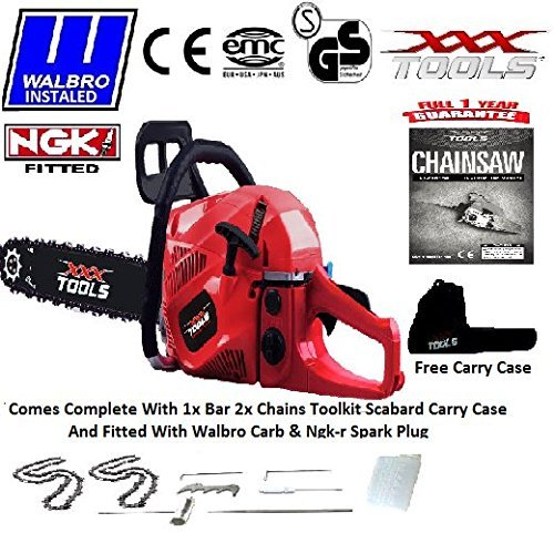 NEW 2016 62CC PETROL CHAINSAW 16 BAR 2 CHAINS WALBRO CARB NGK PLUG SCABBARD CARRY CASE TOOL KIT by xxx powertools by xxx powertools