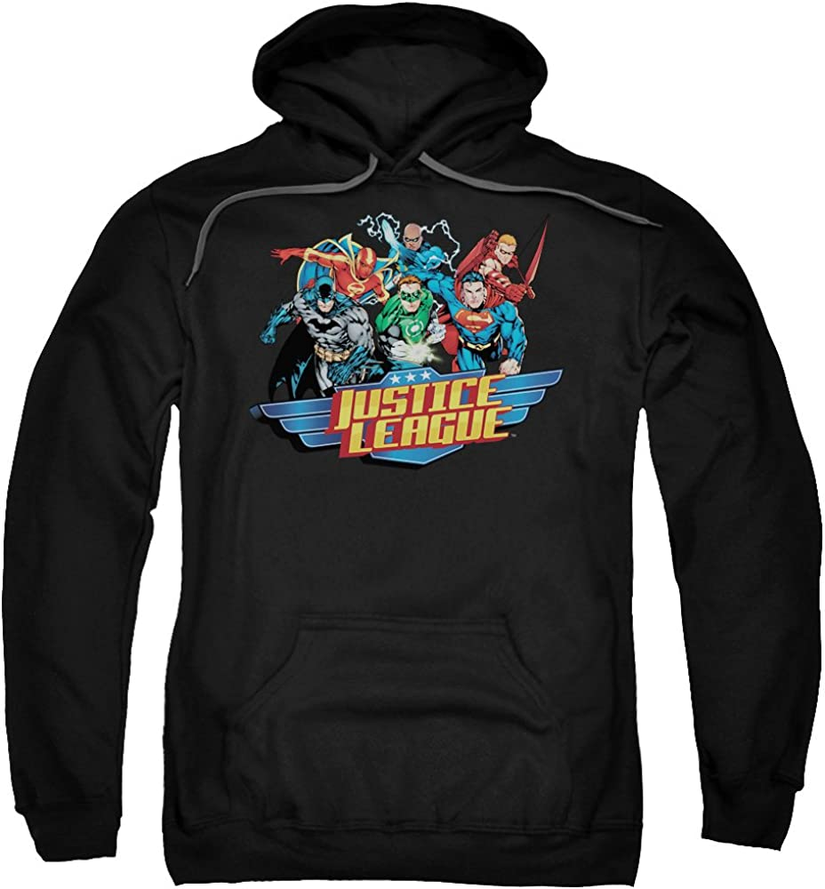 Trevco Jla-Ready To Fight Adult Pull-Over Hoodie Black 2X