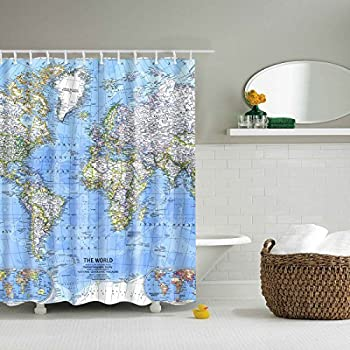Amazon new map of the world shower curtain with detailed major gwell shower curtain polyester fabric waterproofmildew resistant antibacterial bathroom curtain set with 12 hooks world map 3d digital printing7086inch gumiabroncs Gallery