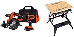 BLACK+DECKER BDCD220CS 20-volt Max Drill/Driver and Circular Saw Kit with BLACK+DECKER WM425-A Portable Project Center and Vise