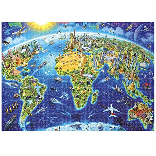 1000 Pieces Jigsaw Puzzle Earth Planet Image Cartoon Style World Map Landmarks