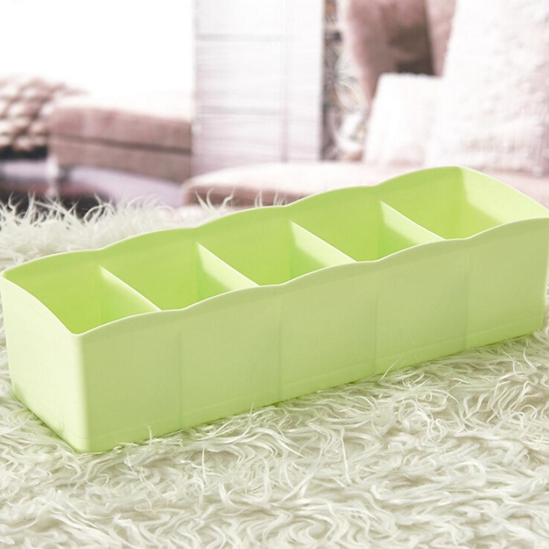 DDLBiz 5 Cells Plastic Organizer Storage Box Tie Bra Socks Drawer Cosmetic Divider Tidy Box (Green)