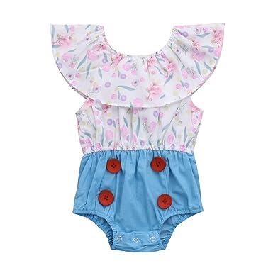 68425ab09326 Winkey Newborn Toddler Baby Girl Floral Print Patchwork Ruffles ...