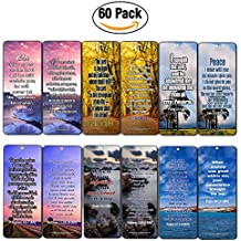 Christian Bookmarks Cards (60-Pack)- Bible Verses to Release Stress and Anxiety - Inspirational Religious Scriptures Prayer Cards - Best Encouragement Gifts for Men Women Teens Kids - Church Supplies