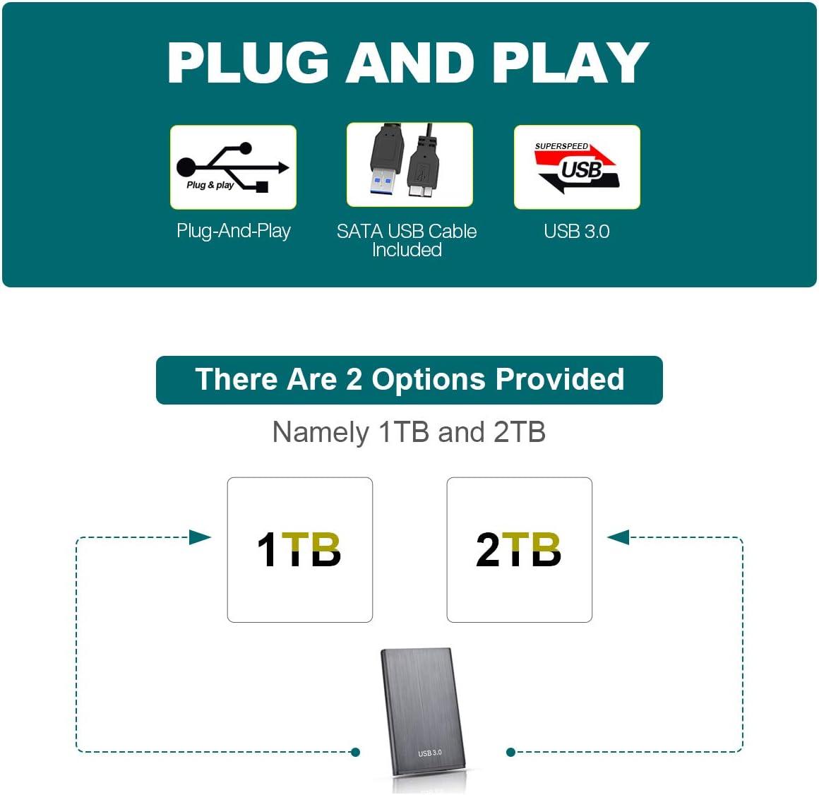 Xbox 360 ps4 Chromebook 2To,Bleu Mac Xbox One MacBook Laptop Disque Dur Externe 2to,Disque Dur Externe USB3.0 pour PC Desktop
