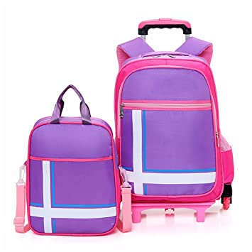 HCC& Rolling Backpack, Mochila Escolar con Ruedas, Impermeable 6 Ruedas Back To School Bookbag