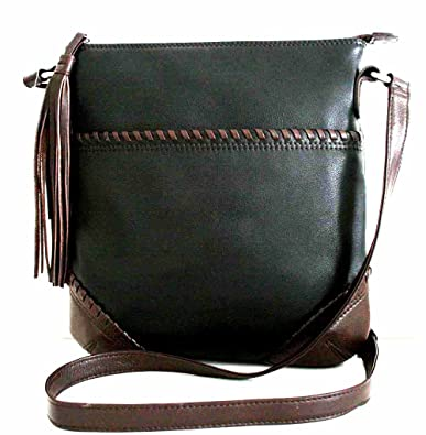 d780df8e1964 Image Unavailable. Image not available for. Color  GENUINE LEATHER  Whipstitch Cross body bag with Tassel