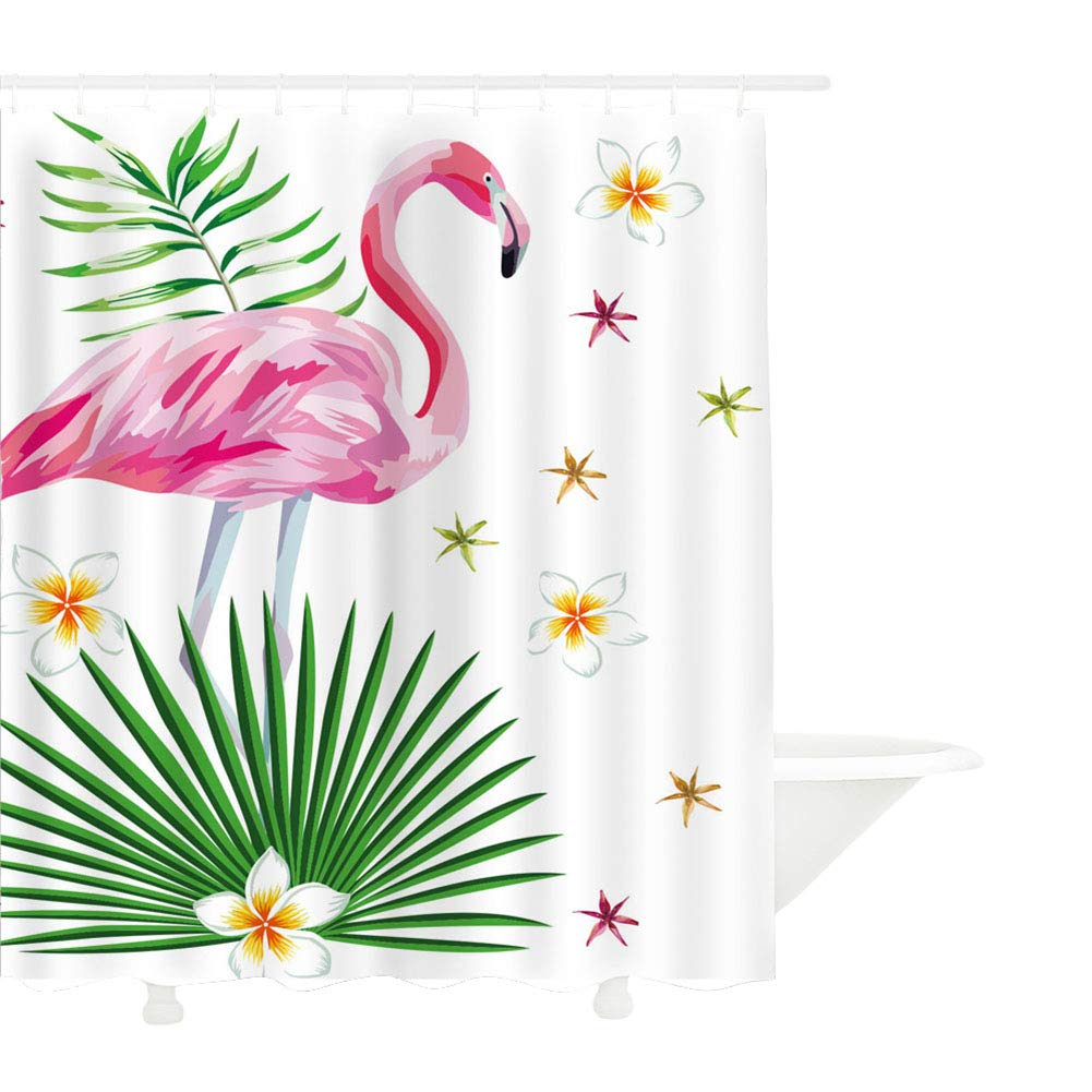 CDM product MYMYU Flamingo Shower Curtain, Waterproof Pink Flamingo with Tropical Leaves and Flowers Pattern Anti Mildew Fabric Bathroom Shower Curtains with 12 Hooks Mildew Resistant 70.8''×78.7'' big image