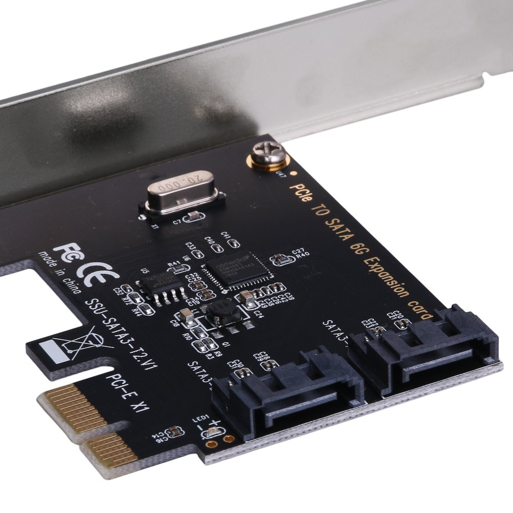 flowerPEI Expansion Card Adapter Express PCIe PCI To SATA3.0 2-Port SATA III 6G Controller Expansion Card Adapter