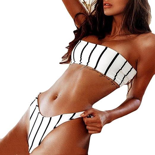 270ccbf65a4 Hot Sale ! Bikinis,Women Sexy Off Shoulder Swimsuit High Waist Thong  Swimwear Striped Beach