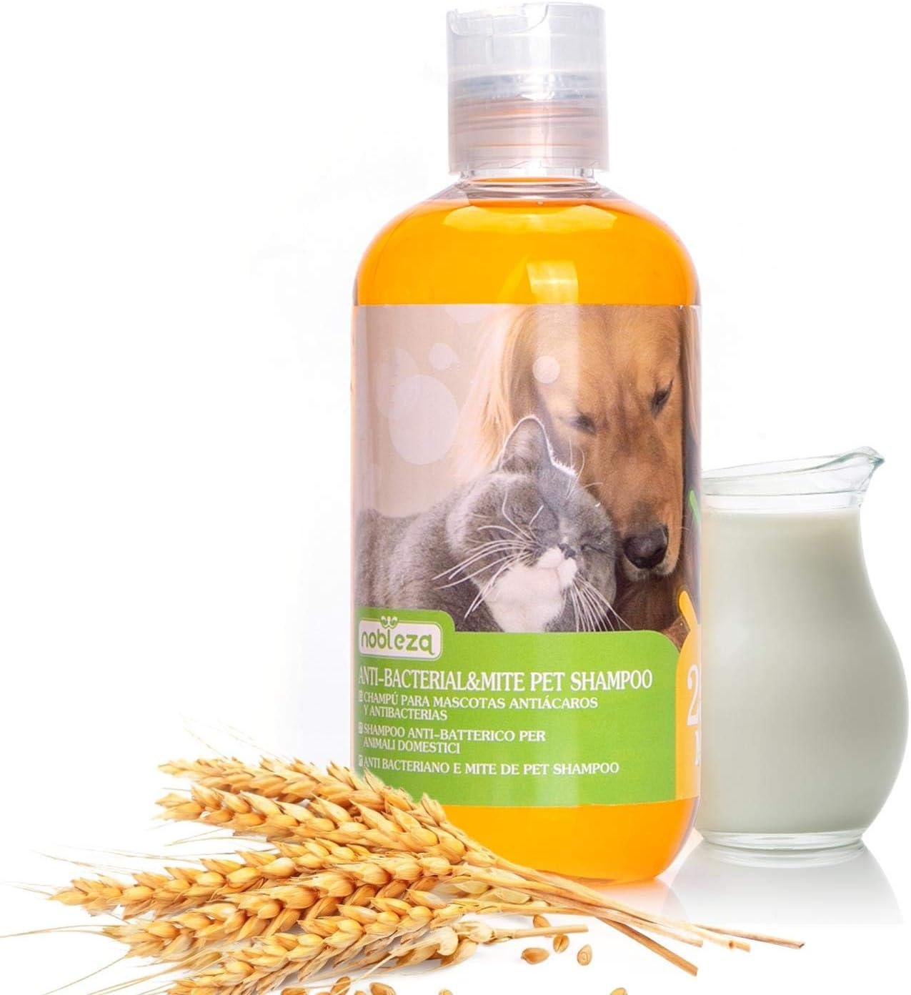 Nobleza – Champú antipulgas para Perros Gatos, Anti-Pulgas y Anti-Acaros - Seguro y no irritante (250ml)
