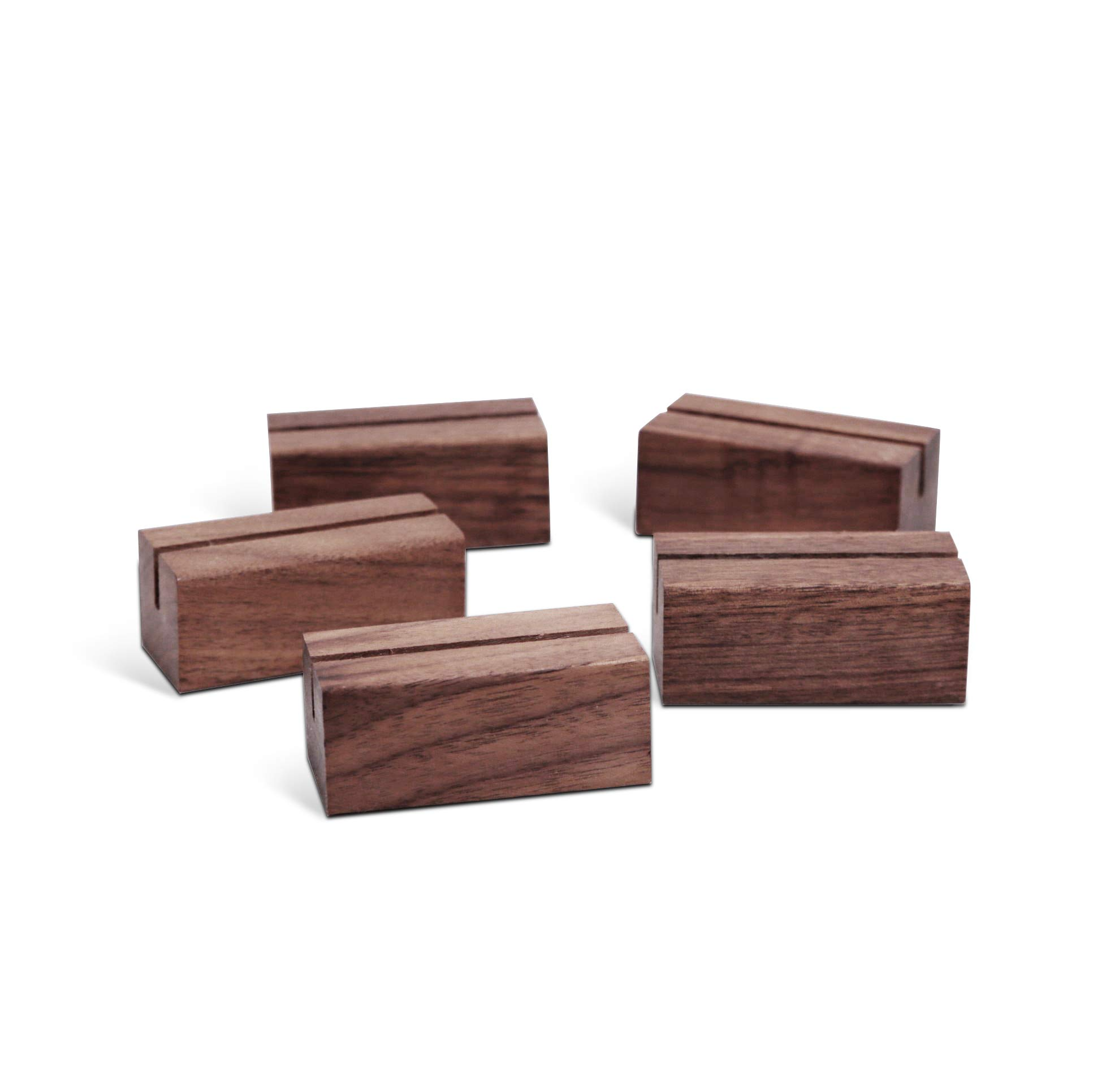 UNIQOOO 20 Pack Place Card Holders | Rustic Walnut Wood Escort Cards Display Stands | Table Number Sign Stand | Photo Stand | Perfect for Retail Shop Cafe Home Wedding Dinner Party Events Decoration by UNIQOOO