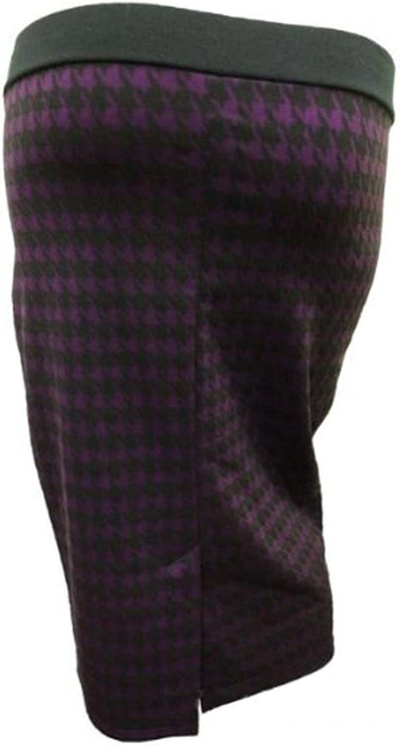 New Ladies Plus Size Aztec Tribal Print Stretch Body CON Skirts Cut Open Back Knee Length Skirts 12-26 Purple