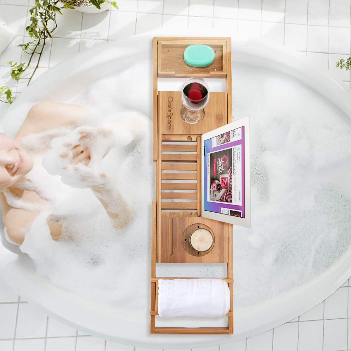 OasisSpace Bathtub Tray, Bamboo Bathtub Caddy Tray Adjustable Bath Table Extending Non Slip Sides, Fits Any Tub by OasisSpace