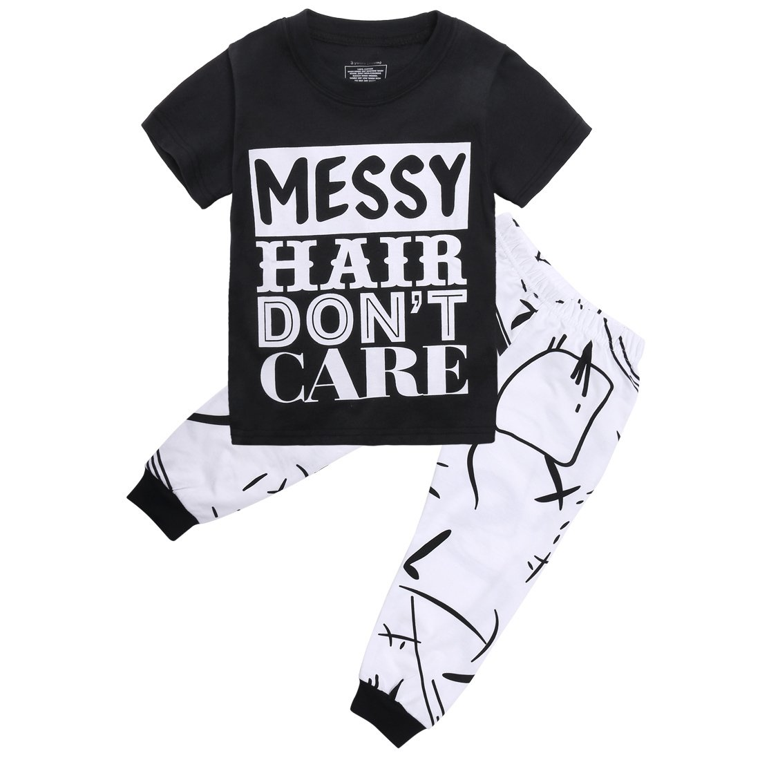 Little Girls Short Sleeve Messy Hair Don't Care Letters Print T-Shirt and Pants Outfit Summer(5T,Black)