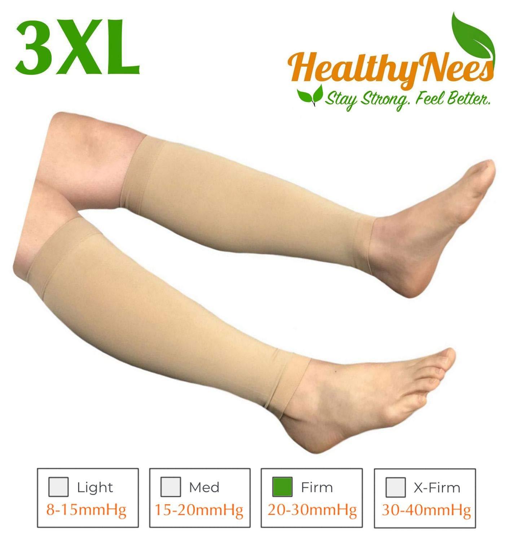Beige Big Calf 3XL HealthyNees Shin Calf Sleeve 20-30 mmHg Medical Compression Circulation Extra Wide Plus Size Big Tall Leg Thick Calves Firm Support (Beige, Regular Calf XL)