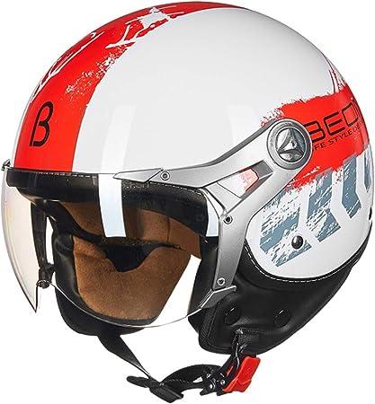 MMRLY Helemt de Moto de Cara Abierta para Mujer, Casco de Motocicleta Harley Retro, certificación Ece, Casco de Crucero con ciclomotor Vespa de Motocross con Visera,L: Amazon.es: Hogar