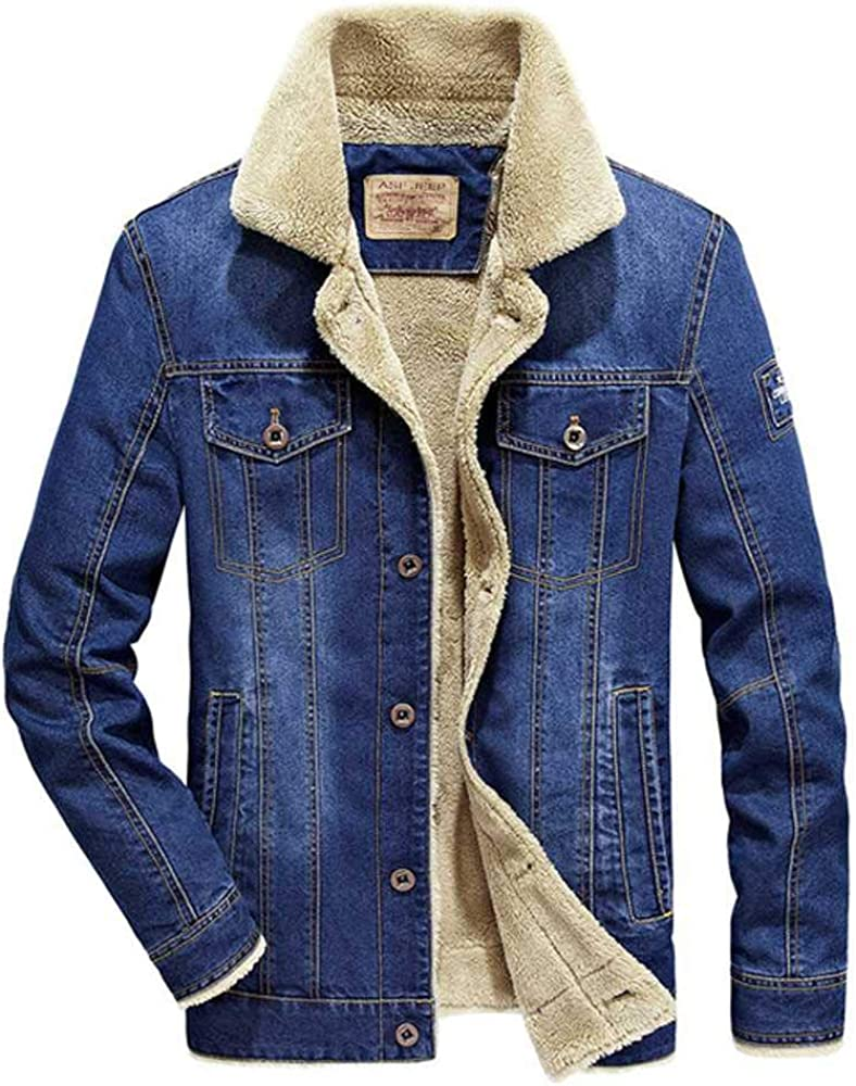 PYLOVER Mens Winter Coat Denim Jacket Cotton Mens Casual Large Size Plus Velvet Jacket Clothes Designer Clothes Jacket