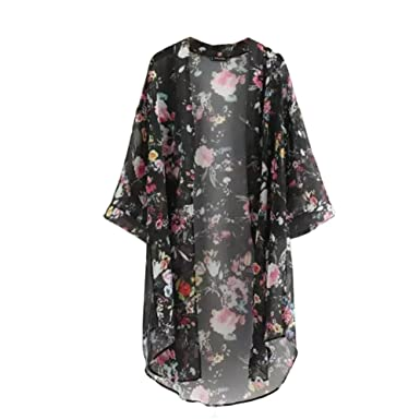 Amazon.com: hankyky Kimono chaqueta de punto Gasa Bikini ...