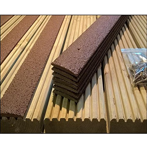 Pack of 5 anti slip decking strips 50mm x 600mm brown for Non wood decking boards