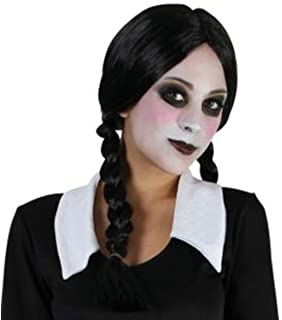 Wednesday Addams Costume Plait Wig Black White Socks Paint