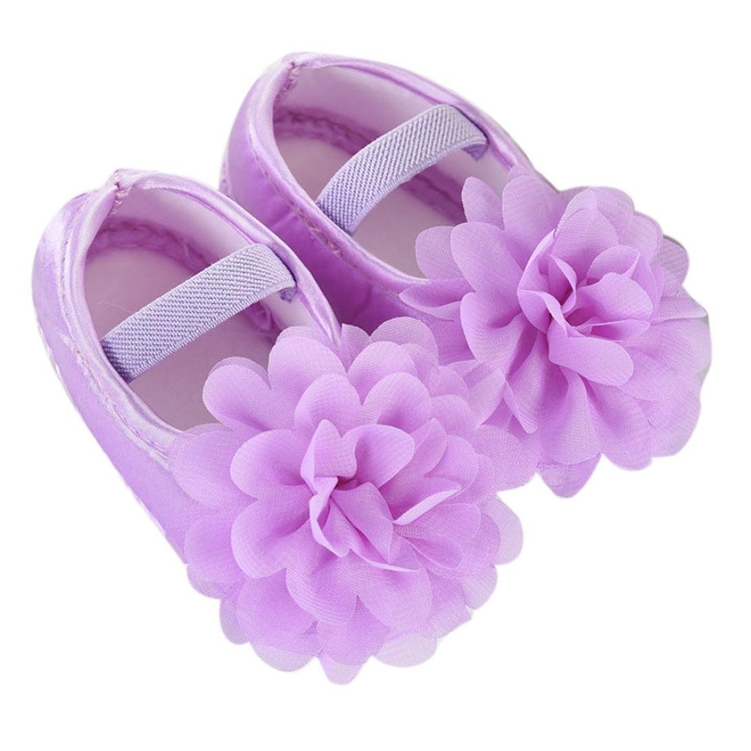 Moonker Baby Shoes 0-18Month,Newborn Infant Boy Girl Soft Non-Slip Chiffon Flower Elastic Band Walking Shoes (0-6 Months, Purple)