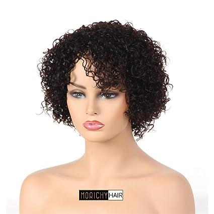 Peluca de pelo humano para mujer negra, peluca corta, rizada, 100% pelo