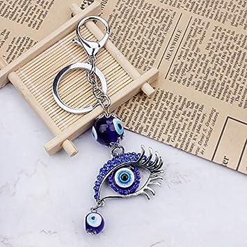 Moda Azul Mal Ojo Vidrio Cuentas Llavero Ojo Llavero Cristal ...