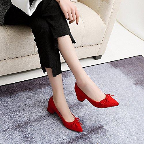 pajarita de femeninos con cantidad zapatos en de Confortable luz singles red la punta la gran SvpxX7xw