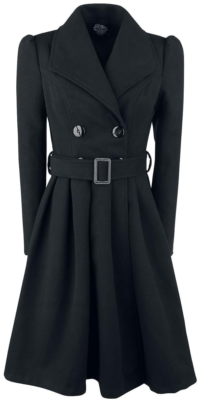 H&R London Black Vintage Swing Coat Wintermantel schwarz