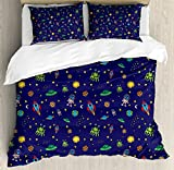 heavenly hotel pillows - Ambesonne Space Duvet Cover Set Queen Size, Doodle Style Cartoon Rocket Astronaut and UFO Alien Life Forms Earth Heavenly Bodies, Decorative 3 Piece Bedding Set with 2 Pillow Shams, Multicolor