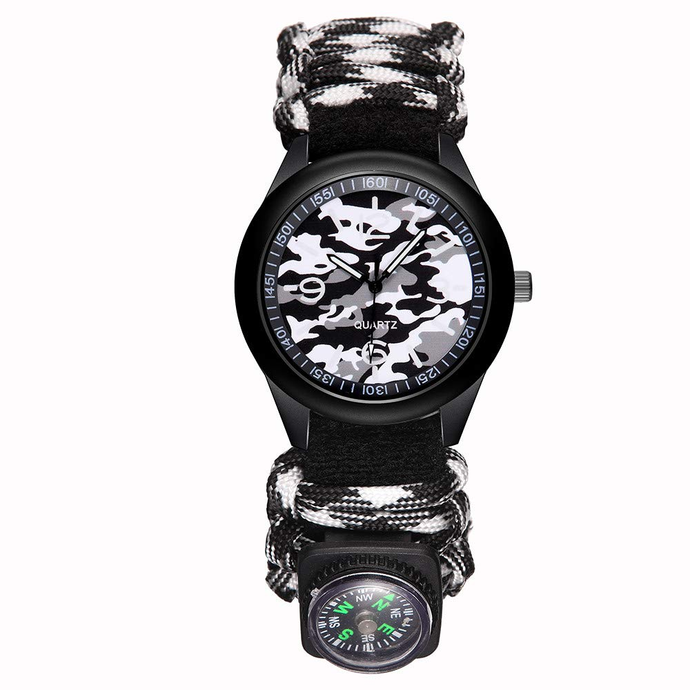 vmree Men Military Camouflage Nylon Strap Wrist Watch with Compass Outdoor Adventure Mountaineering Excursion Survival Watch Great Gift for Explorer (C)