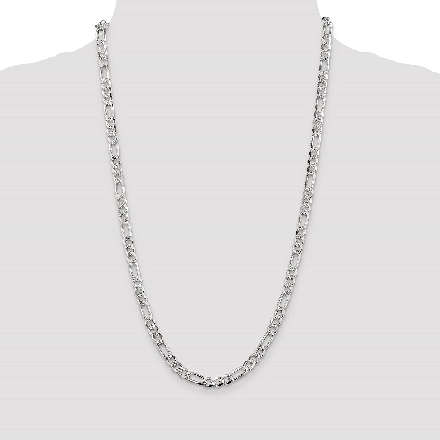 925 Sterling Silver 5.5mm Polished Pave Flat Figaro Link Chain Necklace 7-24